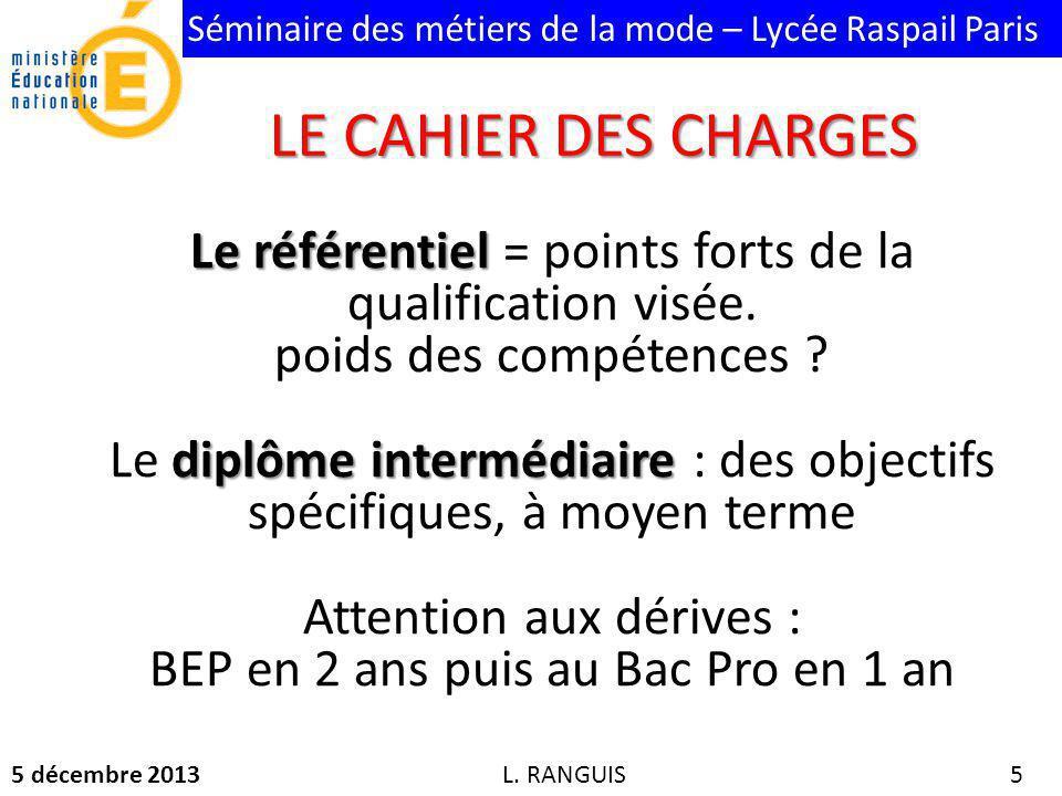 LE CAHIER DES CHARGES Le référentiel = points forts de la qualification visée. poids des compétences