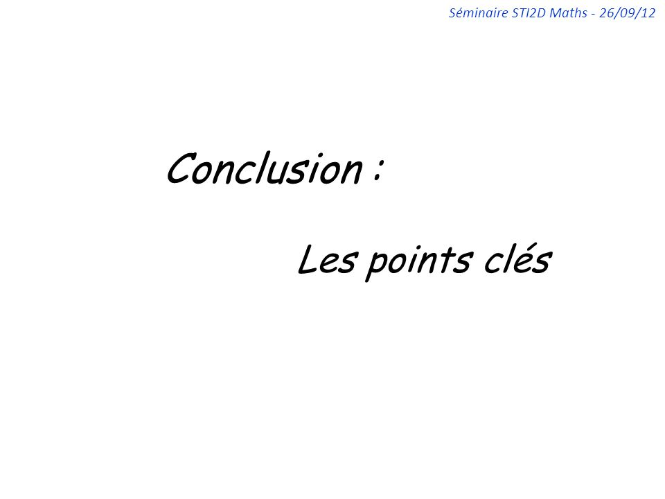 Conclusion : Les points clés