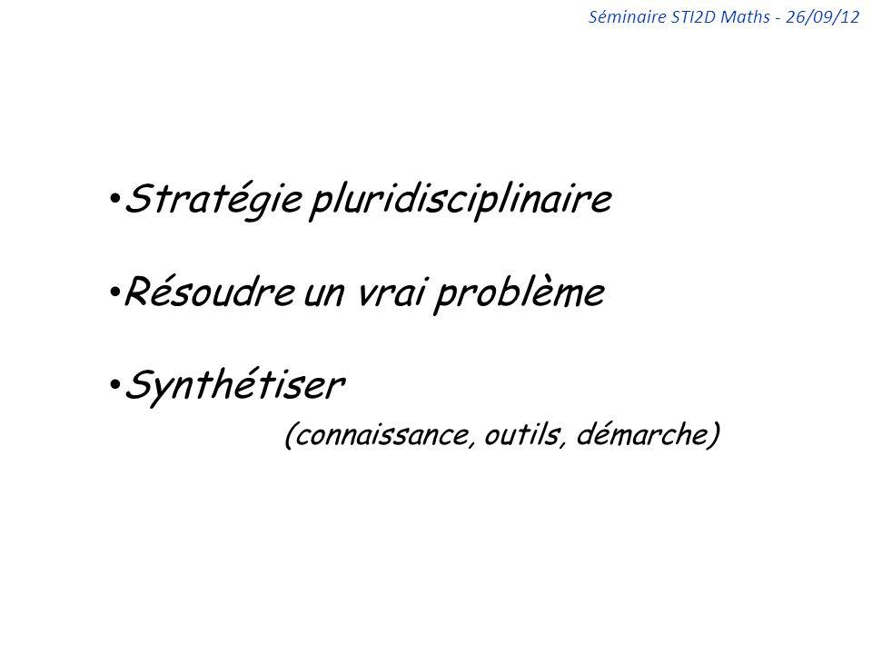 Stratégie pluridisciplinaire Résoudre un vrai problème Synthétiser