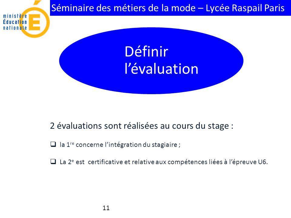 Définir l'évaluation 2 évaluations sont réalisées au cours du stage :