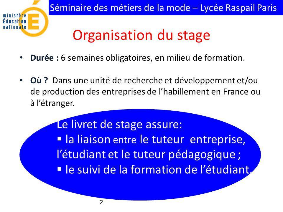 Organisation du stage Le livret de stage assure: