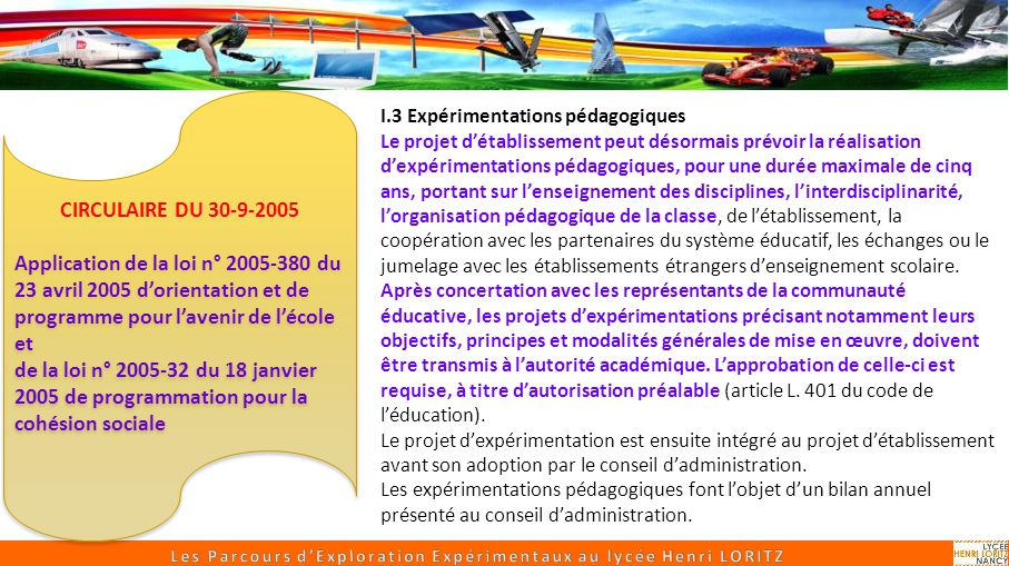 Les Parcours d'Exploration Expérimentaux au lycée Henri LORITZ