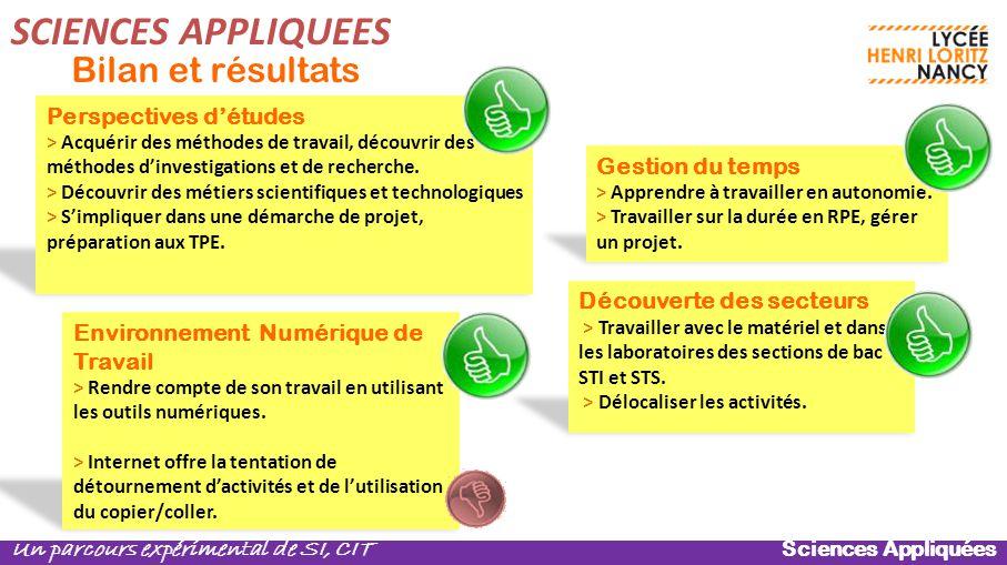 SCIENCES APPLIQUEES Bilan et résultats Perspectives d'études
