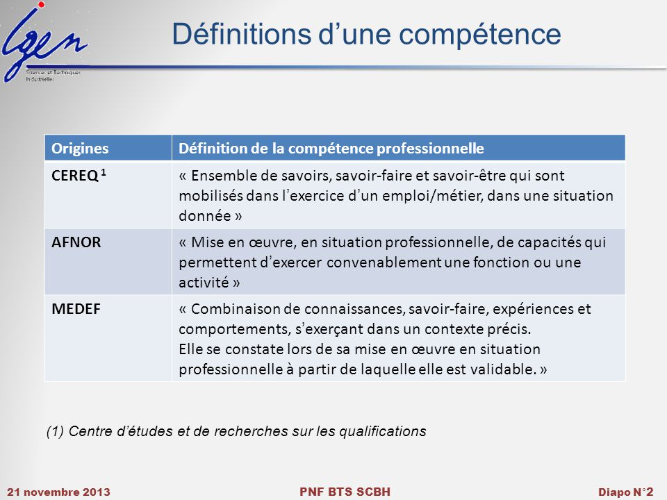 Définitions d'une compétence