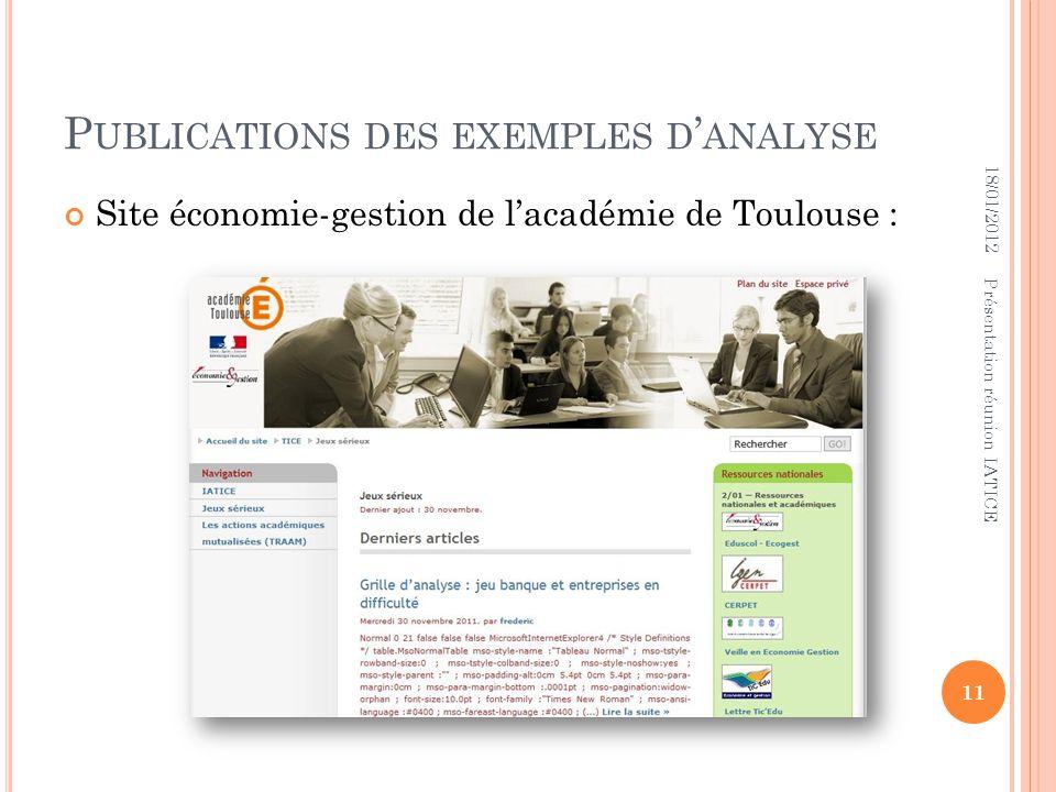 Publications des exemples d'analyse