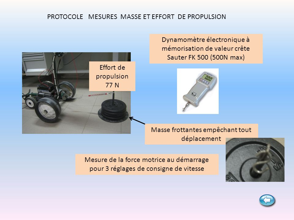 PROTOCOLE MESURES MASSE ET EFFORT DE PROPULSION