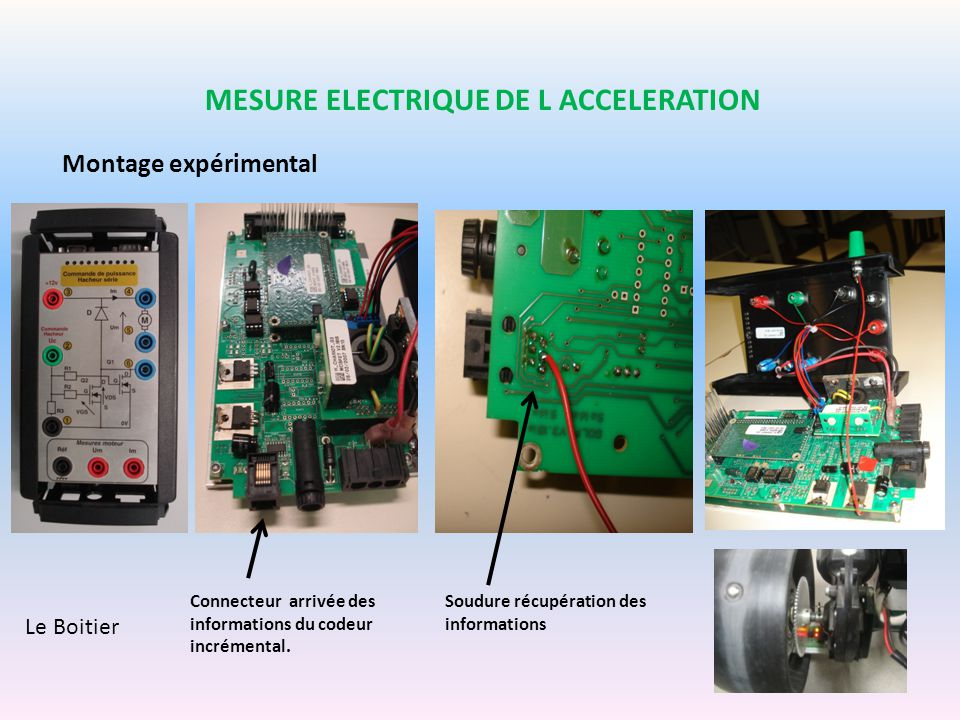 Montage expérimental MESURE ELECTRIQUE DE L ACCELERATION Le Boitier