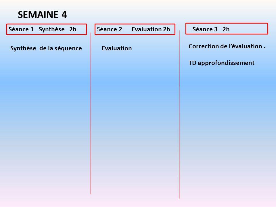 SEMAINE 4 Séance 1 Synthèse 2h Séance 2 Evaluation 2h Séance 3 2h