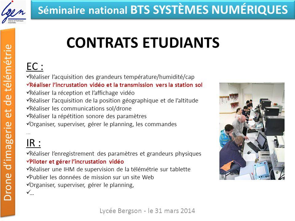 Contrats ETUDIANTS EC : IR : Lycée Bergson - le 31 mars 2014