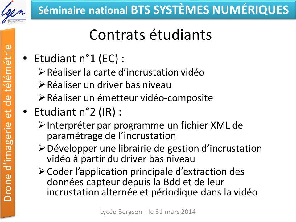 Contrats étudiants Etudiant n°1 (EC) : Etudiant n°2 (IR) :