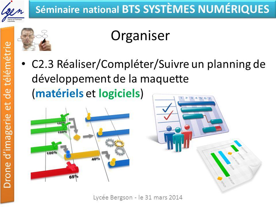 Organiser C2.3 Réaliser/Compléter/Suivre un planning de développement de la maquette (matériels et logiciels)