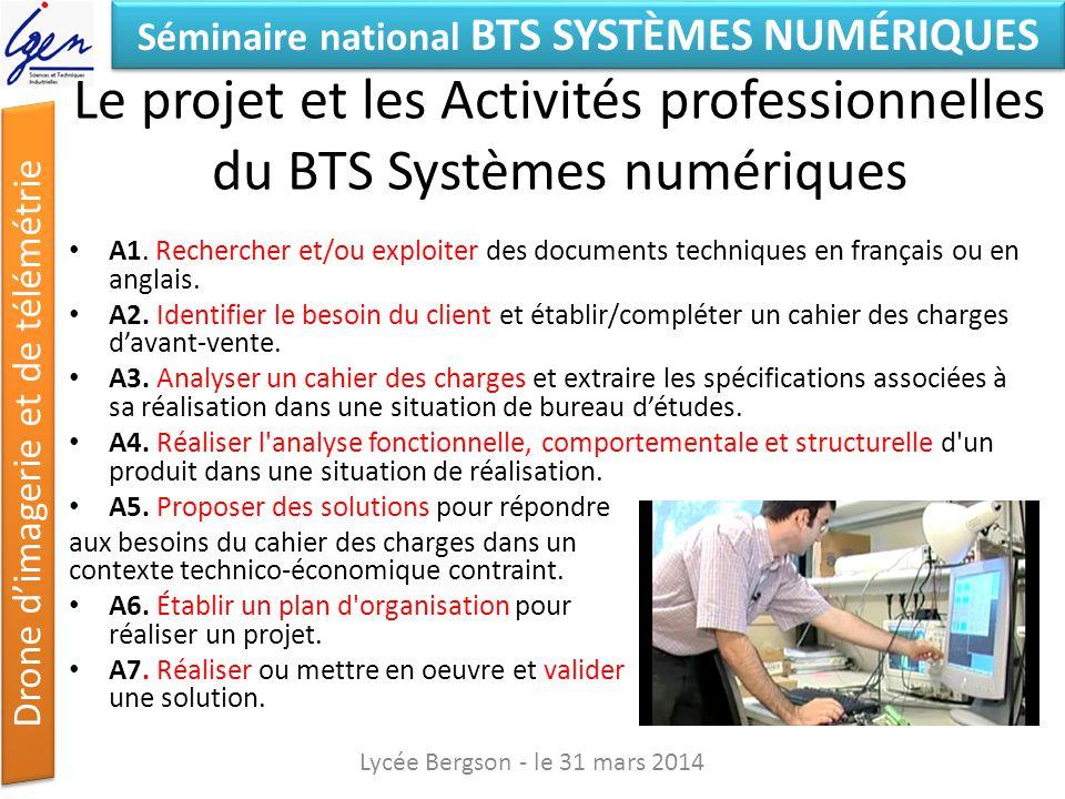 Le projet et les Activités professionnelles du BTS Systèmes numériques
