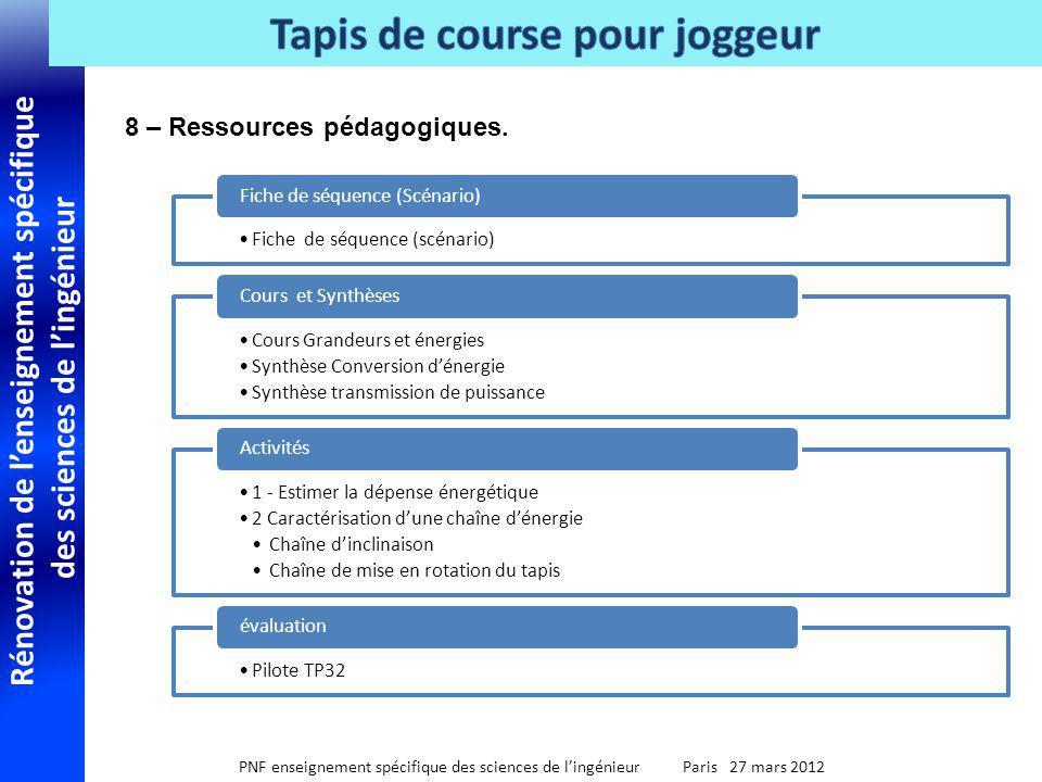 8 – Ressources pédagogiques.