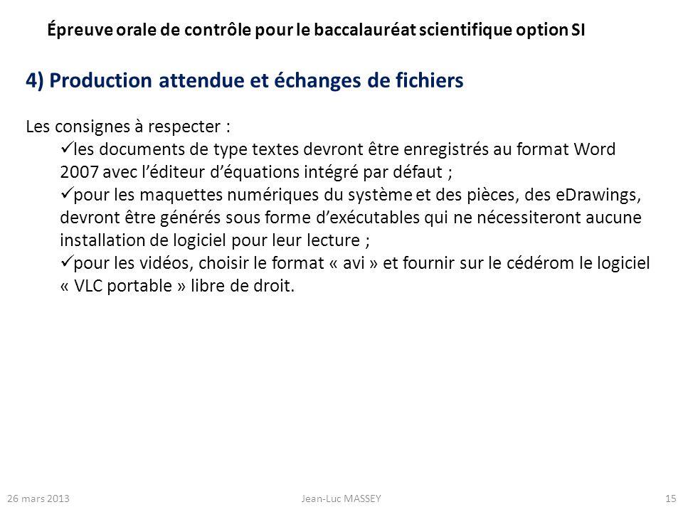 4) Production attendue et échanges de fichiers