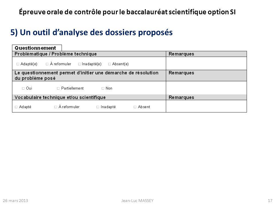 5) Un outil d'analyse des dossiers proposés