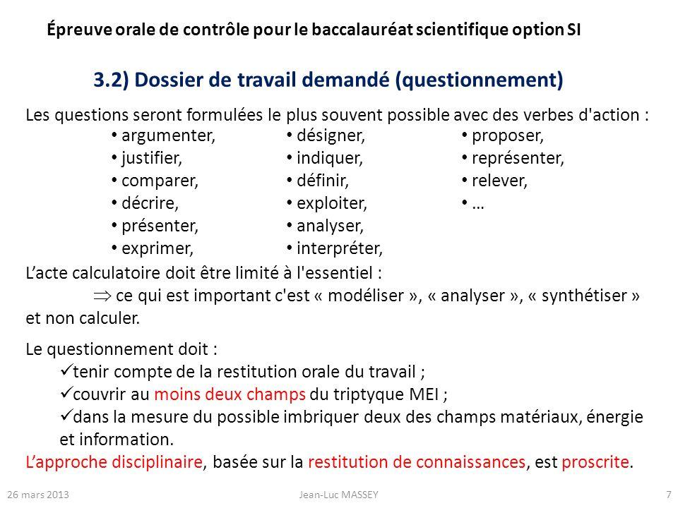 3.2) Dossier de travail demandé (questionnement)