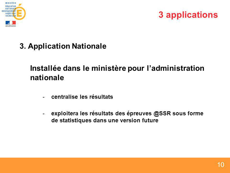 3 applications 3. Application Nationale