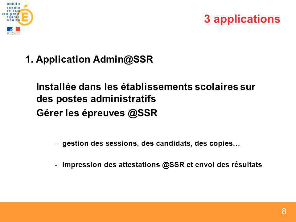 3 applications 1. Application Admin@SSR