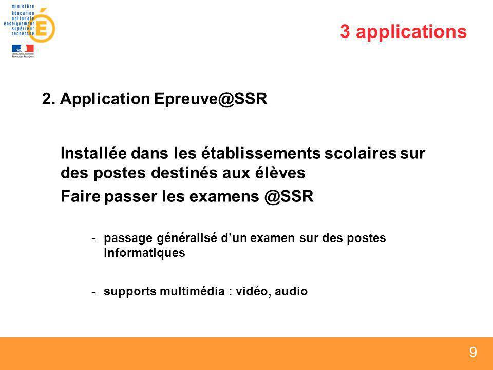 3 applications 2. Application Epreuve@SSR