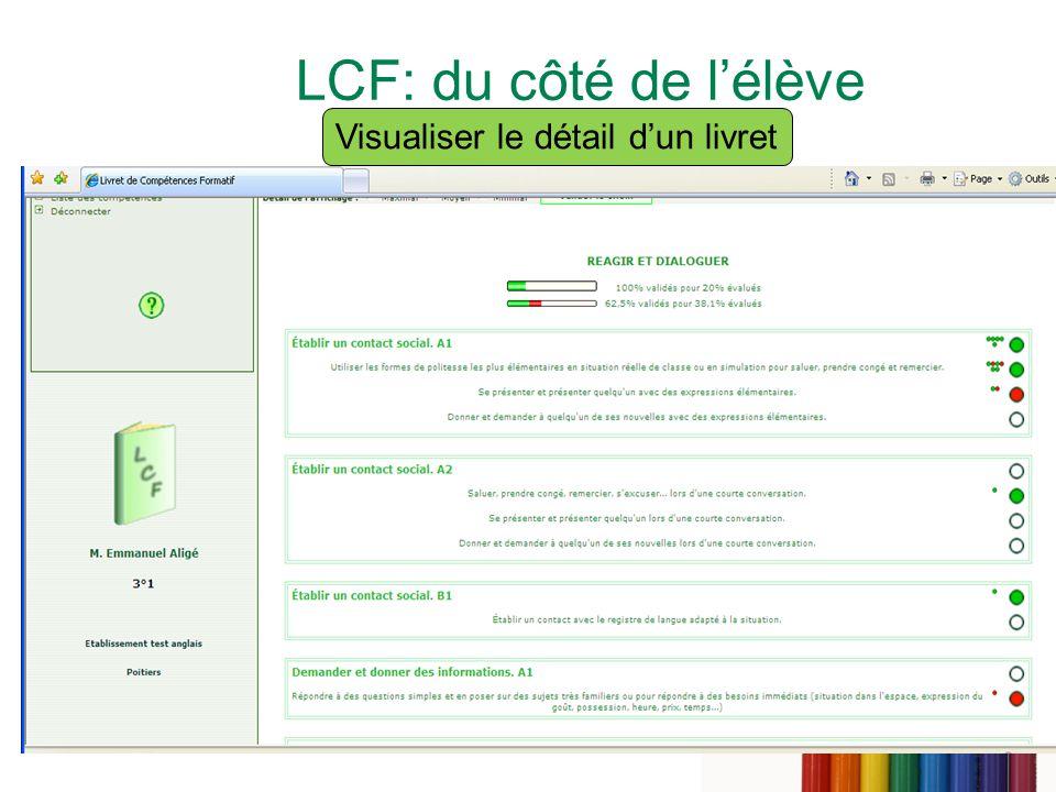 LCF: du côté de l'élève Visualiser le détail d'un livret