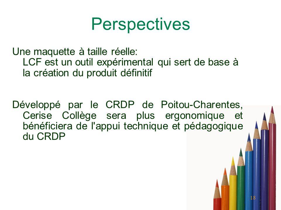 Perspectives Une maquette à taille réelle: LCF est un outil expérimental qui sert de base à la création du produit définitif.