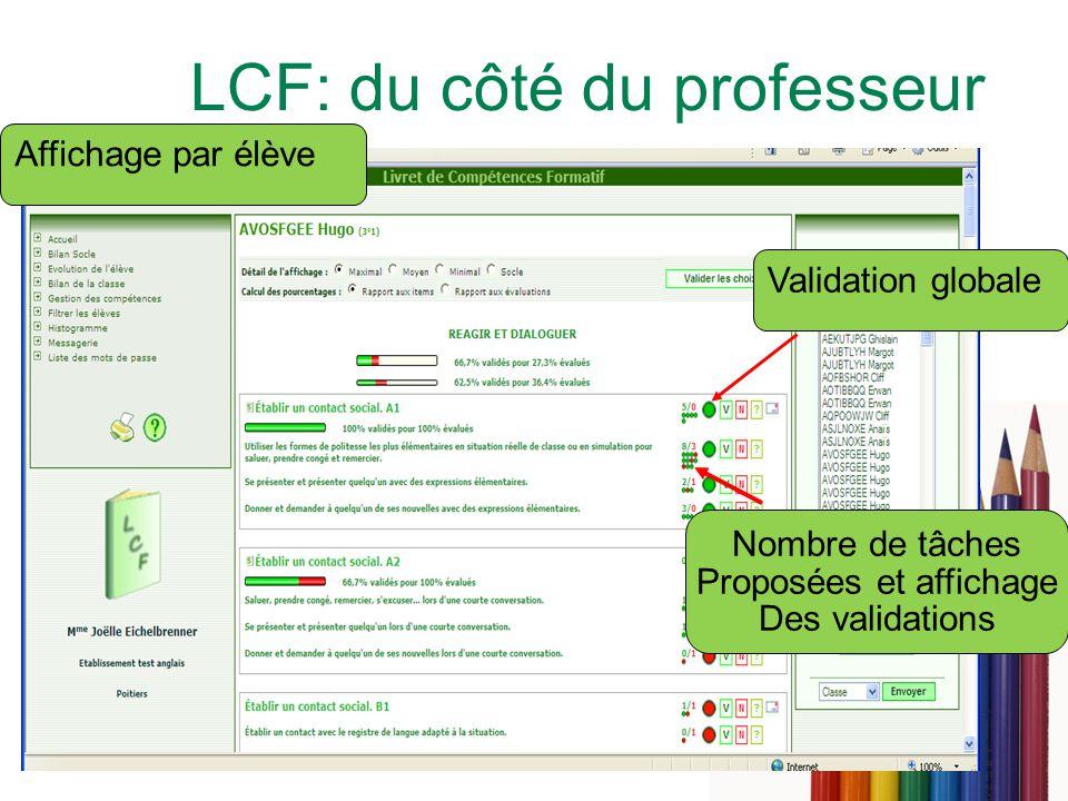 LCF: du côté du professeur