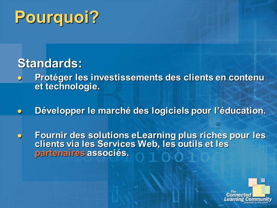 Pourquoi Standards: Protéger les investissements des clients en contenu et technologie. Développer le marché des logiciels pour l'éducation.
