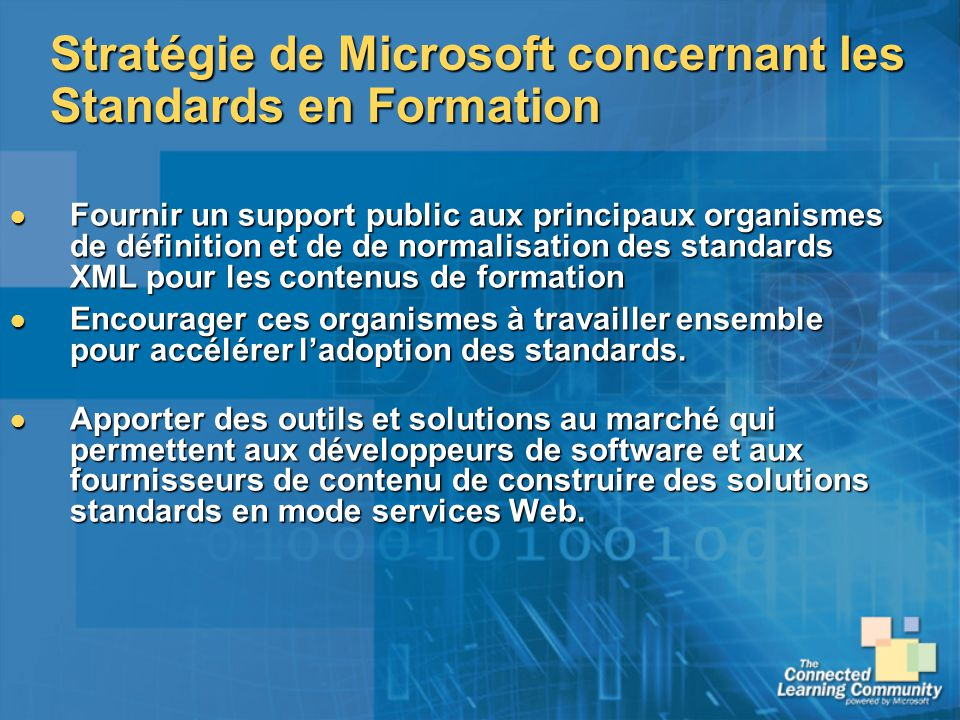 Stratégie de Microsoft concernant les Standards en Formation