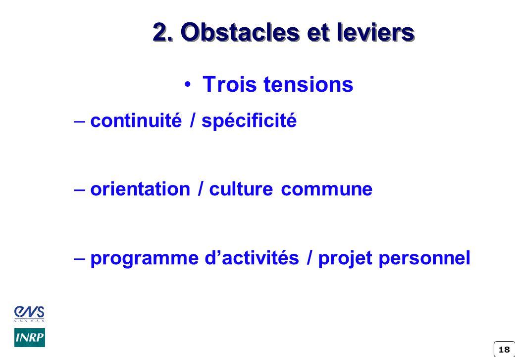 2. Obstacles et leviers Trois tensions continuité / spécificité