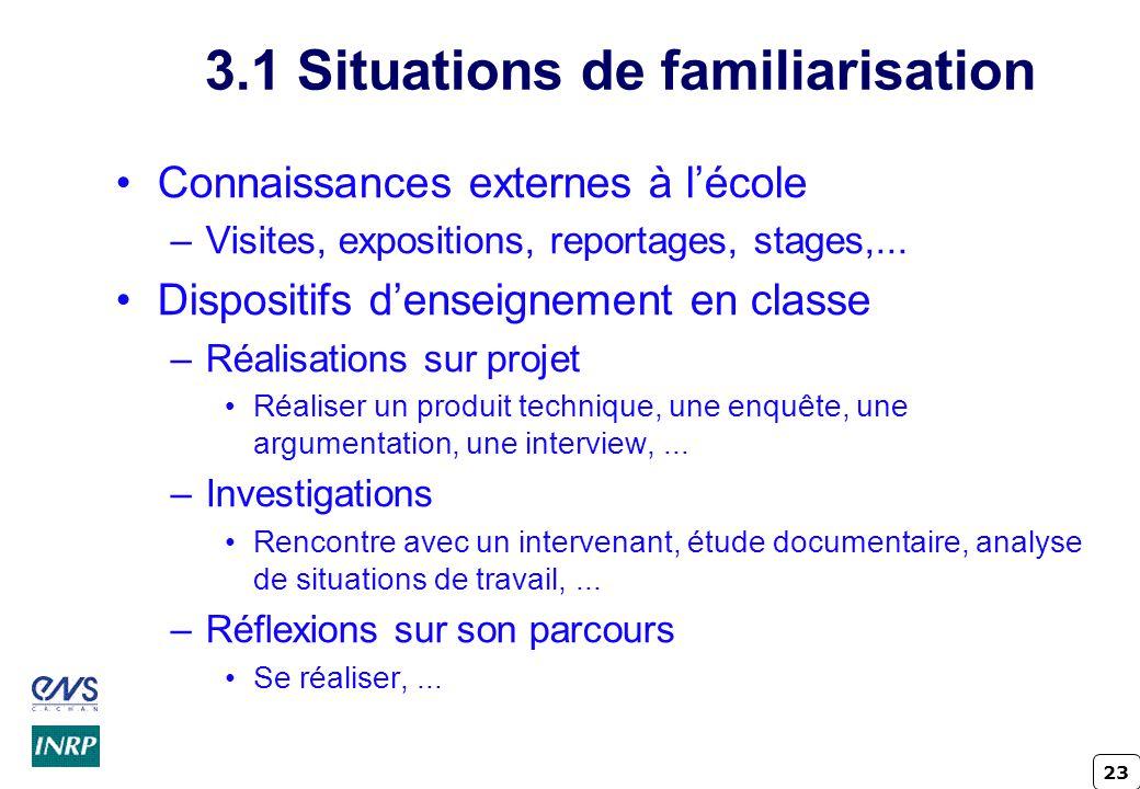 3.1 Situations de familiarisation