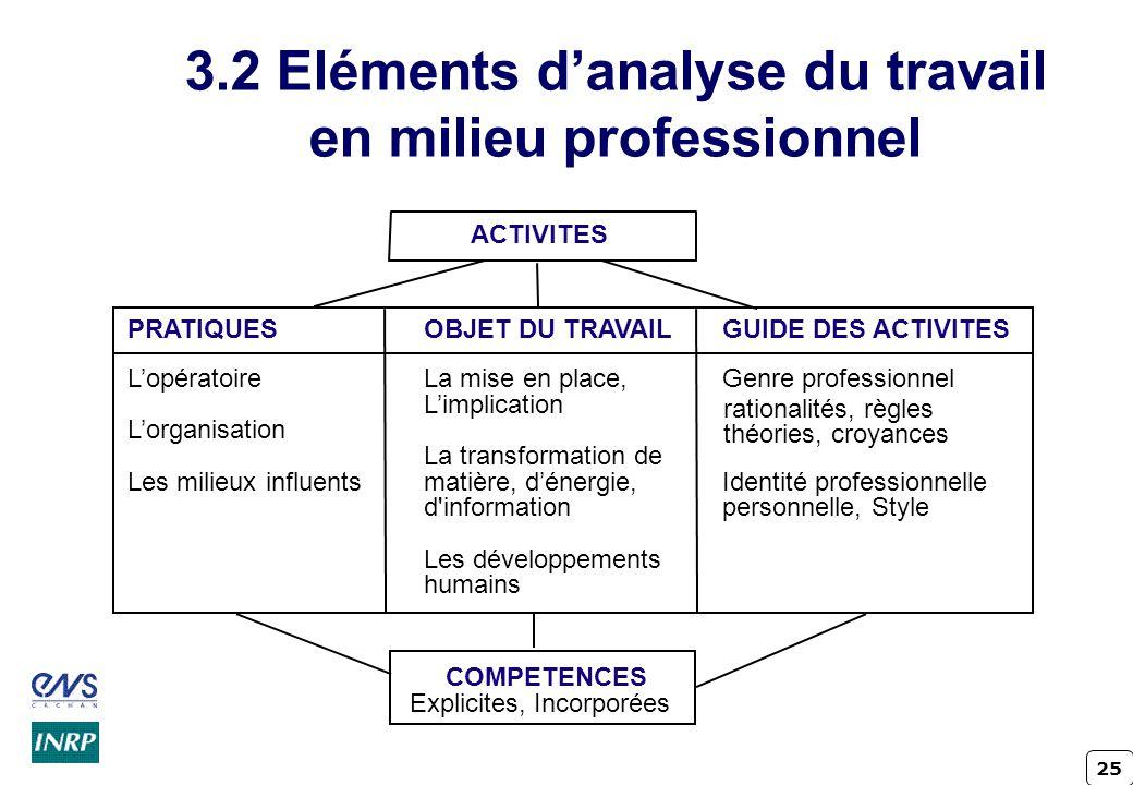 3.2 Eléments d'analyse du travail en milieu professionnel
