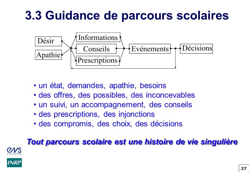 3.3 Guidance de parcours scolaires