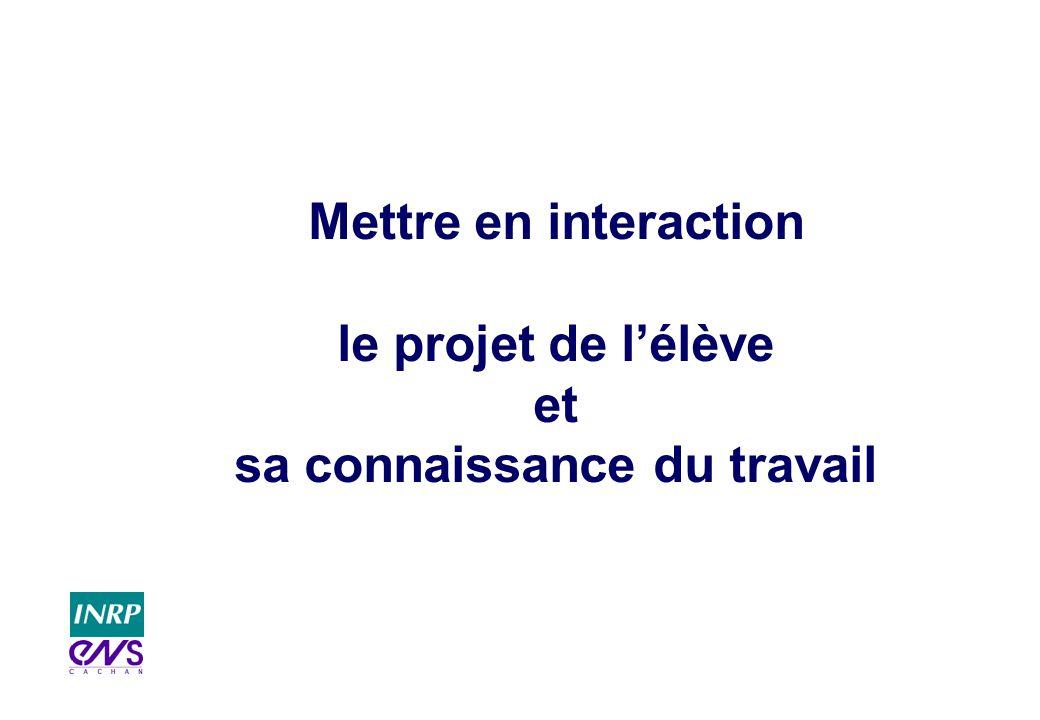 Mettre en interaction le projet de l'élève et sa connaissance du travail