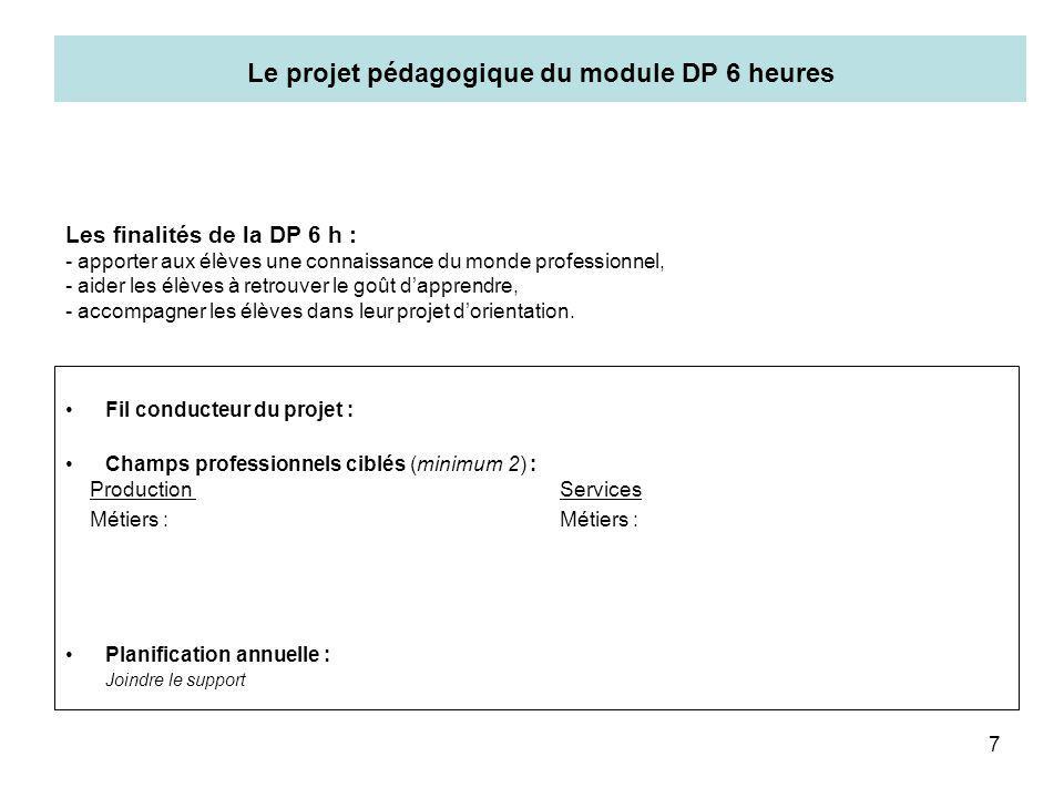 Le projet pédagogique du module DP 6 heures
