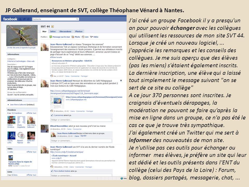 JP Gallerand, enseignant de SVT, collège Théophane Vénard à Nantes.
