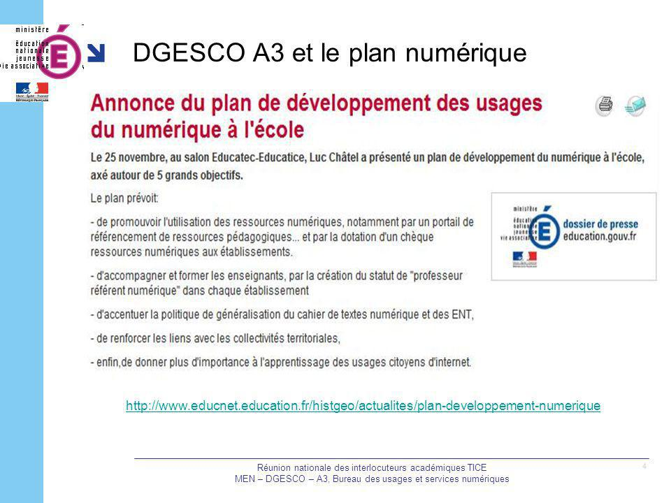 DGESCO A3 et le plan numérique