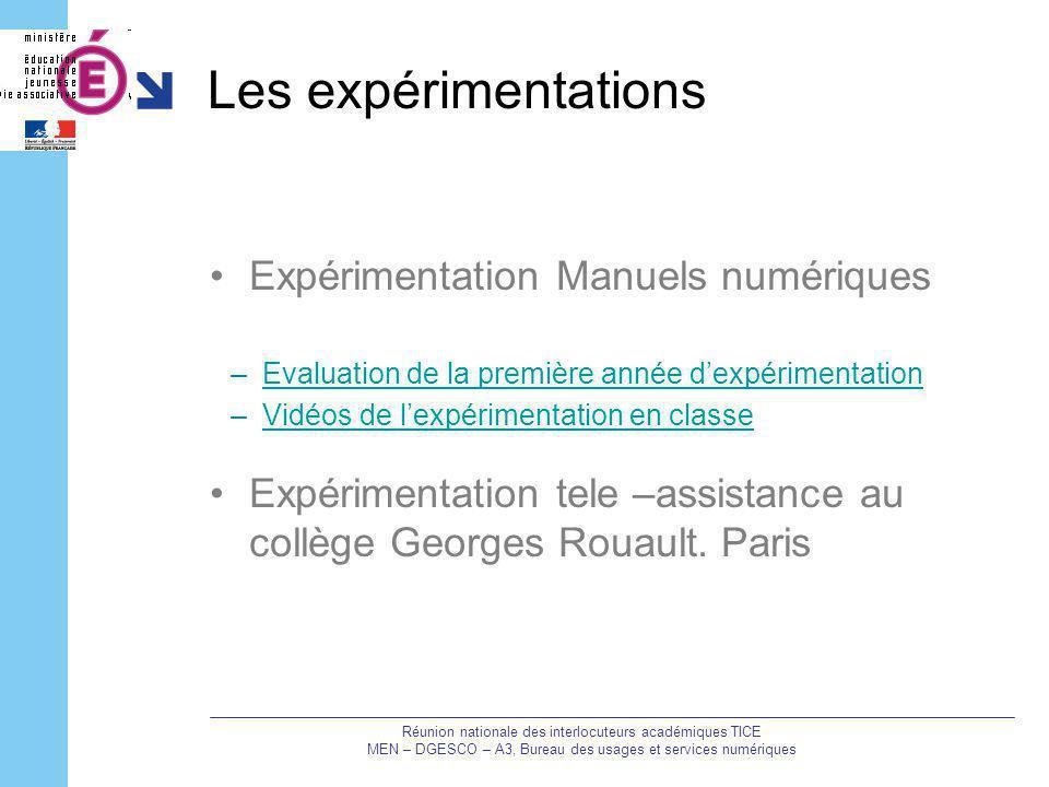 Les expérimentations Expérimentation Manuels numériques