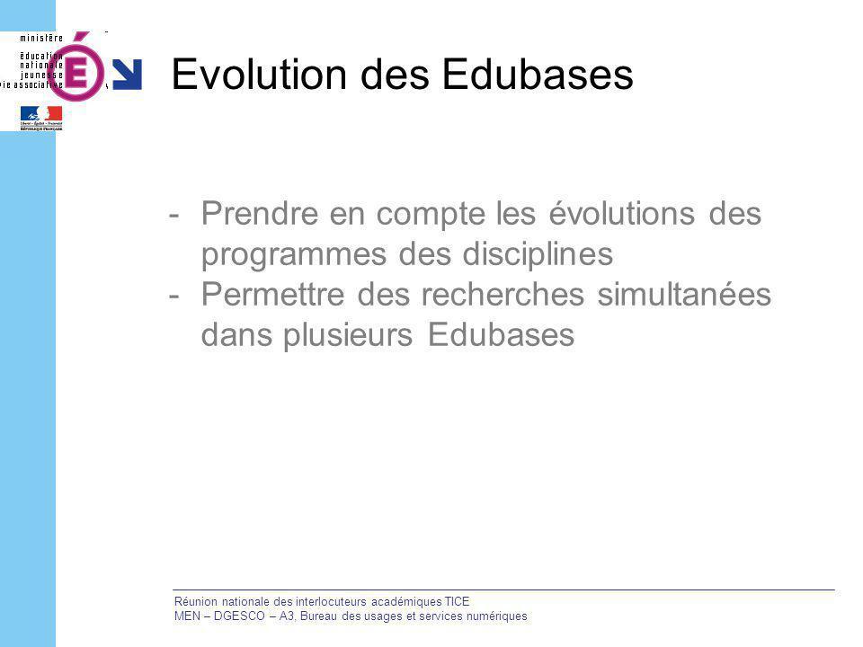 Evolution des Edubases