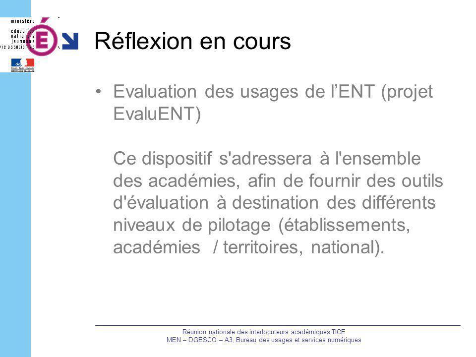 Réflexion en cours Evaluation des usages de l'ENT (projet EvaluENT)