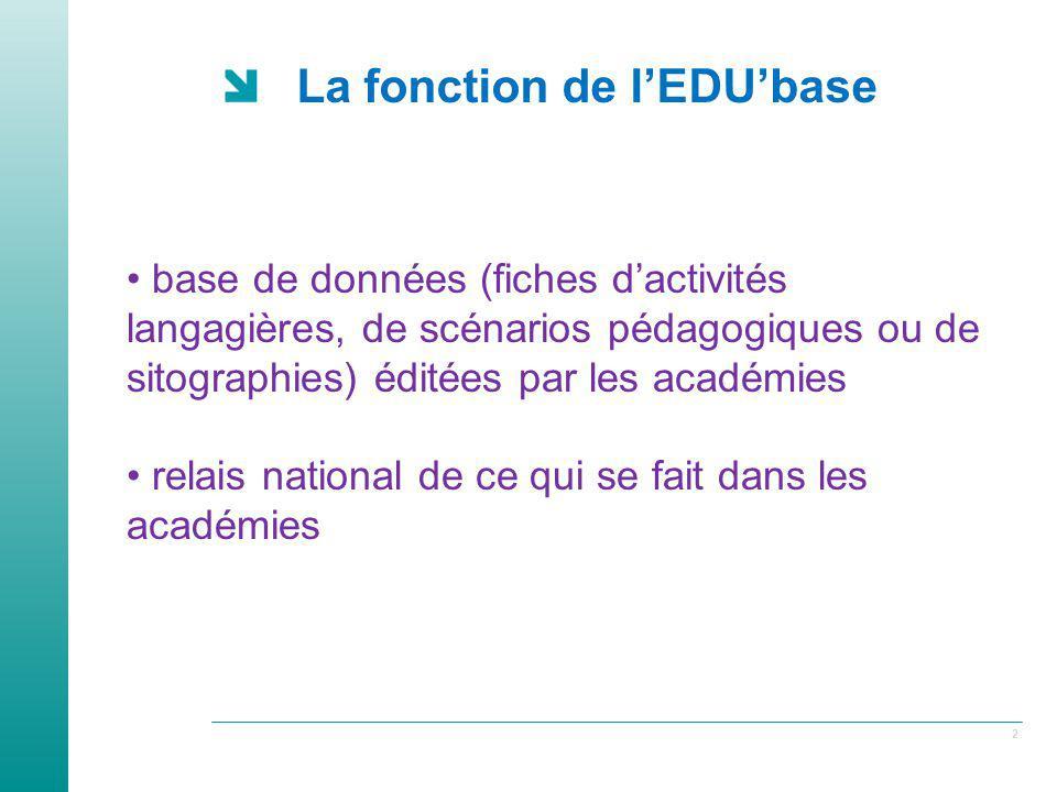 La fonction de l'EDU'base