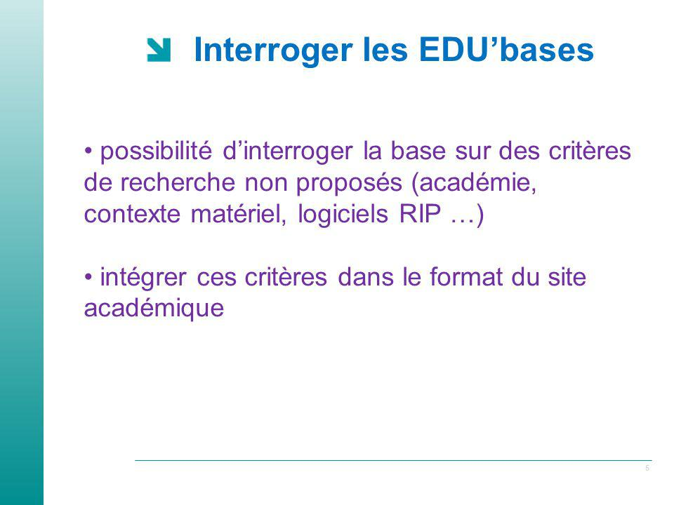Interroger les EDU'bases