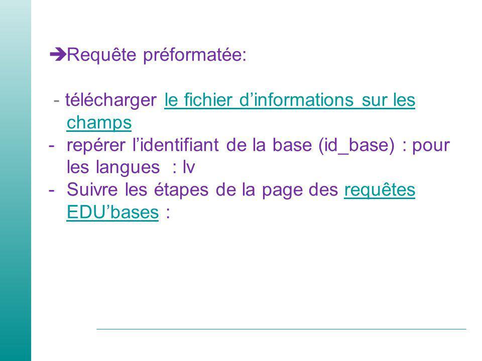 Requête préformatée: - télécharger le fichier d'informations sur les champs. repérer l'identifiant de la base (id_base) : pour les langues : lv.