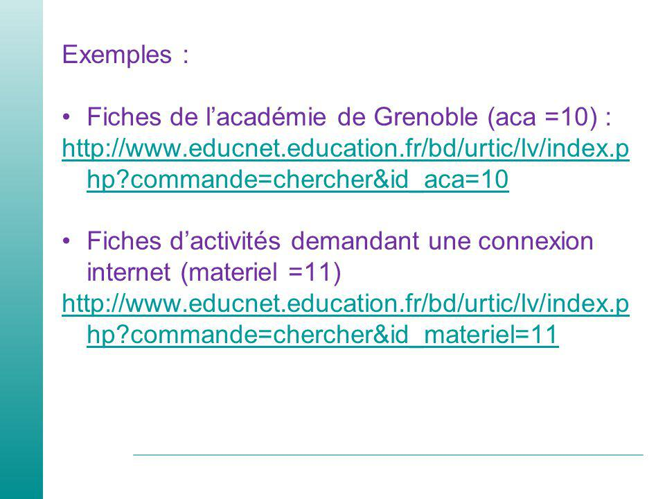 Exemples : Fiches de l'académie de Grenoble (aca =10) : http://www.educnet.education.fr/bd/urtic/lv/index.php commande=chercher&id_aca=10.