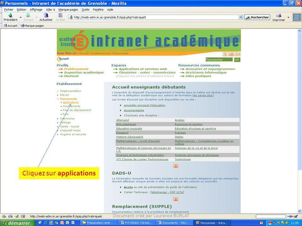 Cliquez sur applications