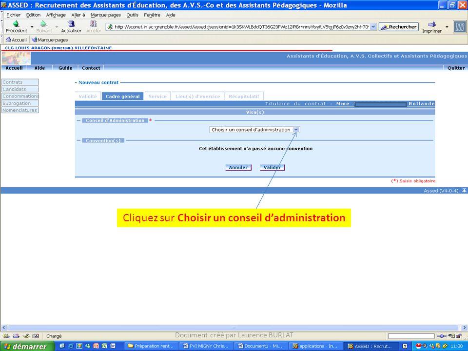 Cliquez sur Choisir un conseil d'administration
