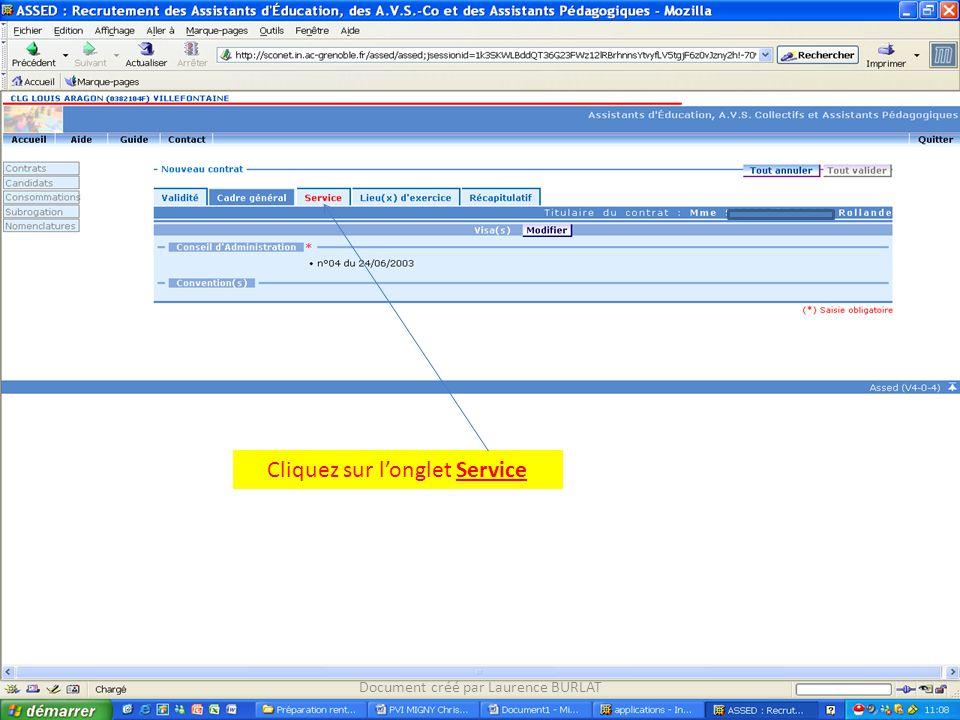 Cliquez sur l'onglet Service