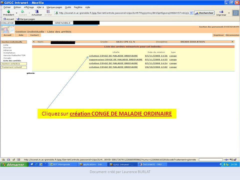 Cliquez sur création CONGE DE MALADIE ORDINAIRE