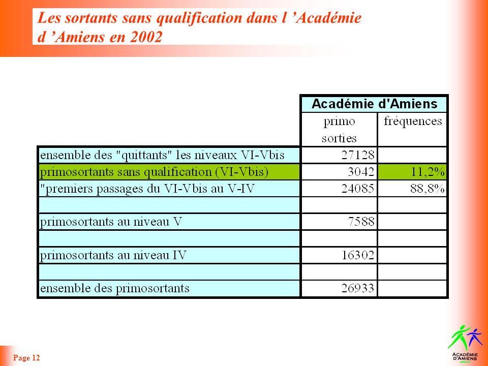 Les sortants sans qualification dans l 'Académie d 'Amiens en 2002