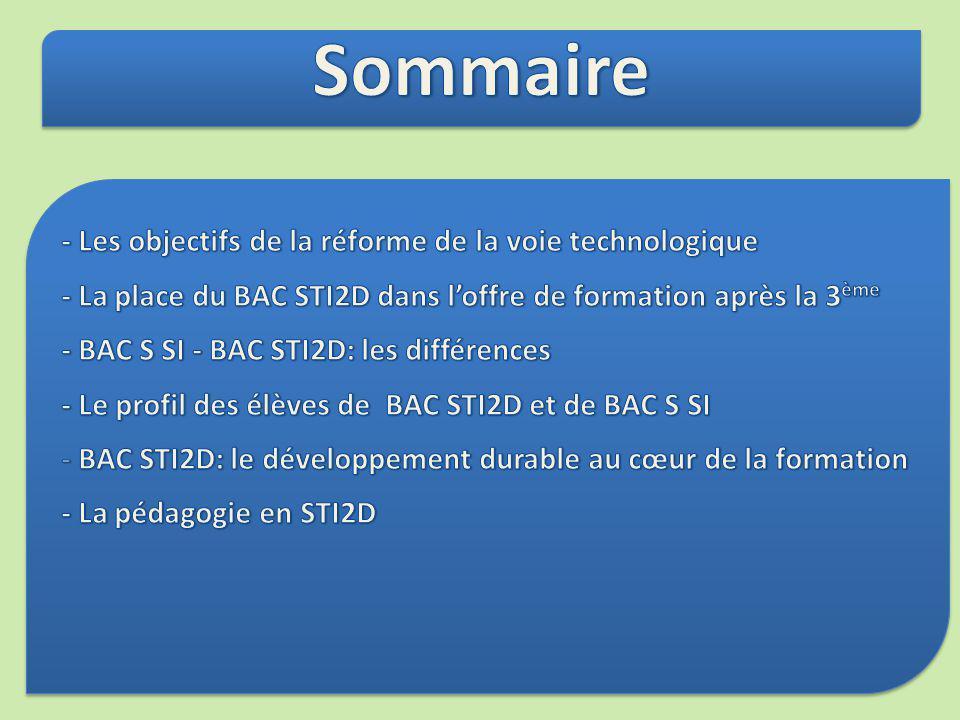 Sommaire - Les objectifs de la réforme de la voie technologique