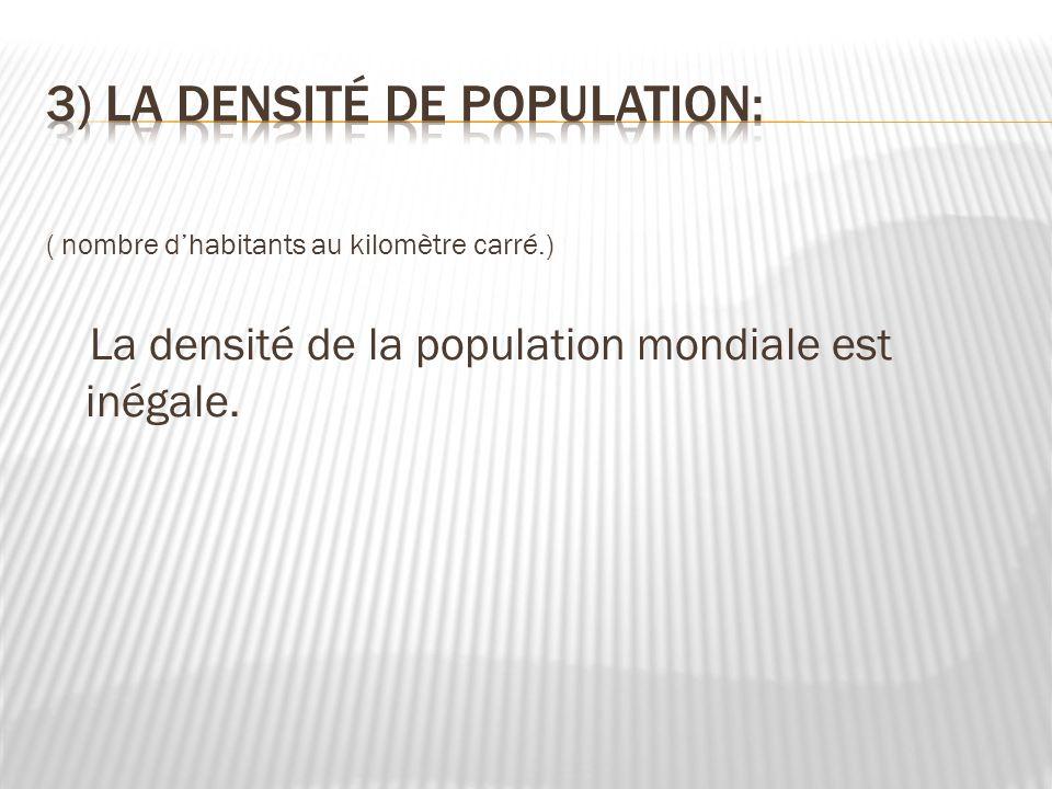 3) La densité de population: